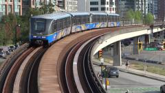 Vancouver - Quebec Street - Skytrain Railway & Train - stock footage