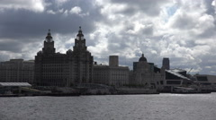 tracking shot of liver buildings and liverpool skyline - stock footage