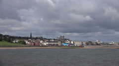 tracking shot of new brighton on wirral peninsular, UK - stock footage