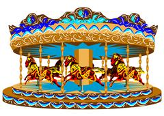 carousel with horses - stock illustration
