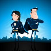 Blue superhero man and woman Stock Illustration