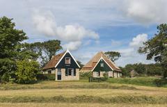 two houses on texel - stock photo