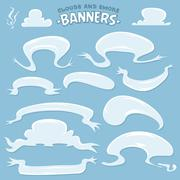 Cartoon clouds and smoke banners Stock Illustration