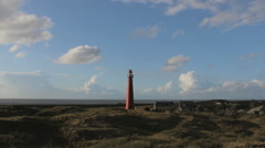 Lighthouse on the island of Schiermonnikoog Stock Footage