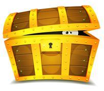 Hiding inside treasure chest Stock Illustration