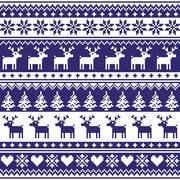 Winter, Nordic seamless navy blue pattern with reindeer Stock Illustration