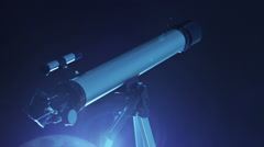 Telescope and moon. Full moon completes an orbit around the planet Earth. Stock Footage