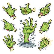 Cartoon Zombie Hands Set for Horror Design - stock illustration