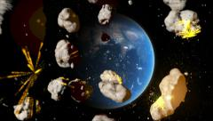 Asteroid strike over Earth, meteor rain - stock footage