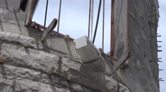Castle Construction, hanging stone block Stock Footage