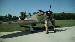 World War II Reenactors - British Aircrew with Spitfire Fighter Plane Arkistovideo