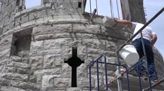 Castle Construction, hoisting block Stock Footage