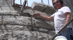Castle Construction, mortar and trowel Stock Footage