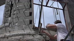 Castle Construction, mud and trowel Stock Footage