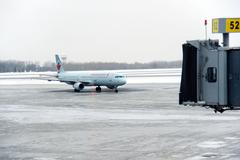 Air canada plane on frozen tarmac Stock Photos