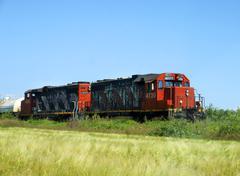 freight locomotives - stock photo