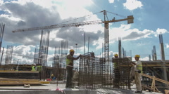 Working at construction site Stock Footage