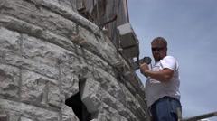 Castle Construction, using hoist Stock Footage