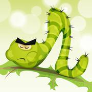 funny caterpillar character - stock illustration