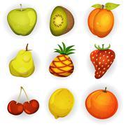 Cartoon fruit icons set Stock Illustration
