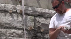 Castle Construction, catching stone spacers Stock Footage