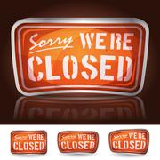 sorry we're closed sign - stock illustration