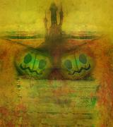 haunted house, grunge halloween frame - stock illustration