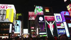 Nightlife in Dotombori Arcade, Minami area, Osaka, Japan, Asia 2of2 Stock Footage