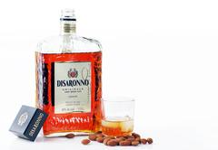 Stock Photo of amaretto liquor with almond nuts