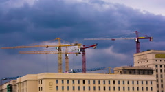 Building Cranes at Work. Time Lapse. HD 1080. Stock Footage
