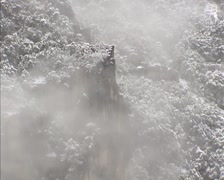 Stock Video Footage of Fog creeping against steep mountain slope. Tunnel View, Yosemite Valley