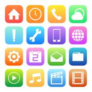 colorful style mobile phone icons vector set. - stock illustration