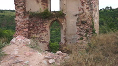 Remains of the old fortress. The view from the bottom up Stock Footage