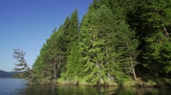 Mountain lake with pine trees Stock Footage