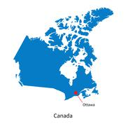 Detailed vector map of Canada and capital city Ottawa Stock Illustration