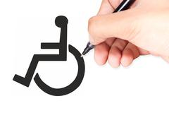 hand drawing a handicap sign - stock illustration
