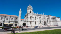 Jeronimos monastery in Lisbon Stock Footage
