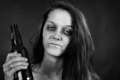 Black and white of young woman addict Stock Photos