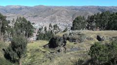 Peru Inca ruins on hill above Cusco Stock Footage
