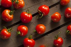 red organic cherry tomatoes - stock photo