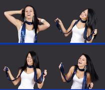 Sequence of pretty girl dancing Stock Photos