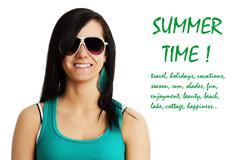 summer time girl - stock illustration