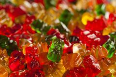Colorful fruity gummy bears Stock Photos