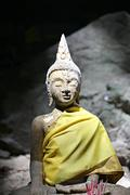 Old buddha in temple of religion buddhist. Stock Photos
