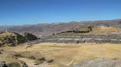 Peru Sacsayhuamán overview with distant Cusco Stock Footage