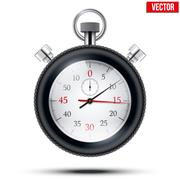 Realistic shine analog stop watch frimed rubber tires. Vector illustration. - stock illustration