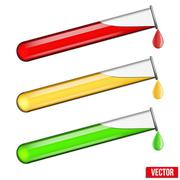 Stock Illustration of Transparent test tubes with vaccine colored liquids. Vector illustration.
