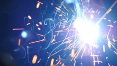 Stock Footage Bright Welding Sparks Closeup Slow Stock Footage