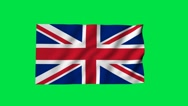 Stock Video Footage of UK flag Chroma key green screen