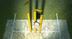 cricket ball hitting wickets - stock illustration